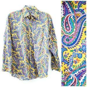 Alan Flusser Paisley Sleeve Button Down Shirt Men